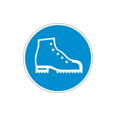Biztonsági betétes védőcipő használata kötelező! Vinil matrica 20x20