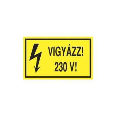 Vigyázz! 230 V! Vinil matrica 100x60