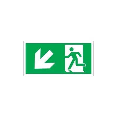 Menekülési út balra, lépcsőn le (ISO) Vinil matrica 20x20
