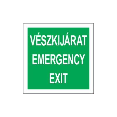 Vészkijárat - Emergency Exit (felirat) Vinil matrica 148x148