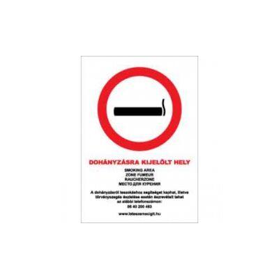 Dohányzásra kijelölt hely (5 nyelvű) Vinil matrica 210x300