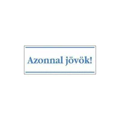 Azonnal jövök! (kék/fehér, magyar nyelvű) Vinil matrica 250x100
