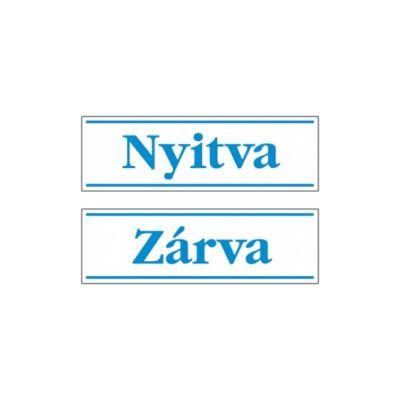 Nyitva-Zárva (kétoldalas, kék/fehér, magyar nyelvű) PVC Tábla 250x80