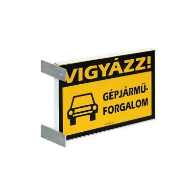 Vigyázz! Gépjárműforgalom feliratú kétoldalas fali táblatartó konzol Aluminium Tábla 400x250