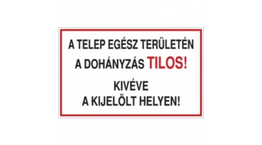 A Telep Egsz Terletn Dohnyzs Tilos Kivve Kijellt Helyen PVC Tbla 600x400